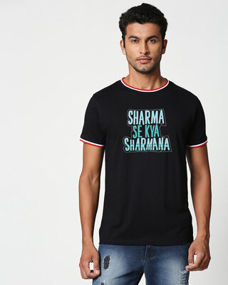 Shop Sharma Se Kya Sharmana Crewneck Varsity Rib H/S T-Shirt Multicolor-Front