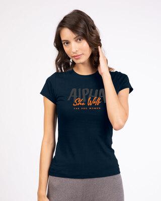 Shop She Wolf Half Sleeve T-Shirt Navy Blue-Front