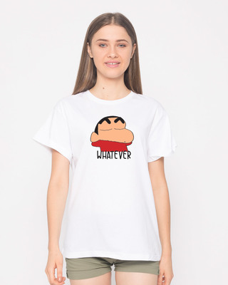 Shop Shinchan Whatever Boyfriend T-Shirt (SCL)-Front