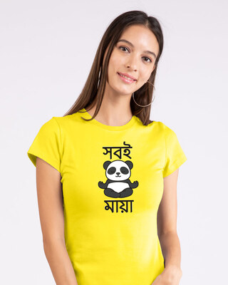 Shop Shobi Maya Panda Half Sleeve T-Shirt Pineapple Yellow-Front