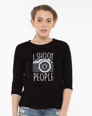 Shop Shoot People Round Neck 3/4th Sleeve T-Shirt-Front
