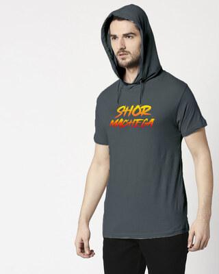 Shop Shor Machega Half Sleeve Hoodie T-Shirt Nimbus Grey-Front