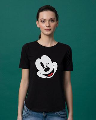 Shop Sideways Mickey Basic Round Hem T-Shirt (DL)-Front