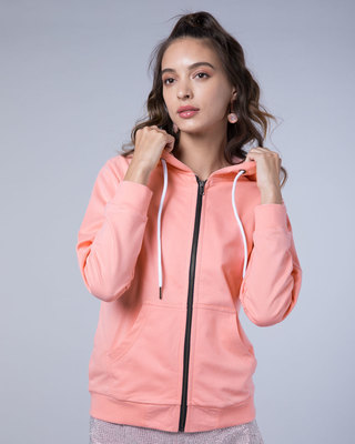 Shop Silver Pink Fleece Zipper Hoodies-Front