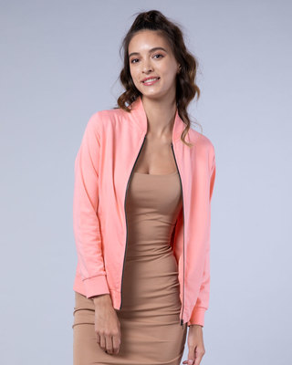 Shop Silver Pink Plain Zipper Bomber Jacket-Front