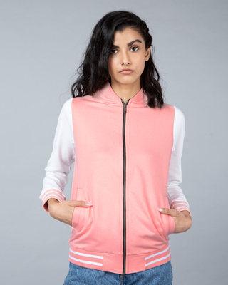Shop Silver Pink Varsity Plain Bomber Jacket-Front