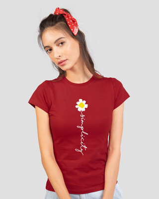 Shop Simplicity Daisy Half Sleeve Printed T-Shirt Bold Red-Front