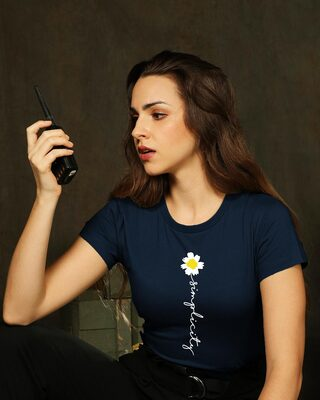 Shop Simplicity Daisy Half Sleeve Printed T-Shirt Navy Blue-Front