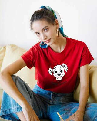 Shop Simply Pawfect Boyfriend T-Shirt (DL) Bold Red-Front