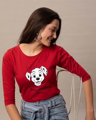 Shop Simply Pawfect Round Neck 3/4th Sleeve T-Shirt (DL) Bold Red-Front