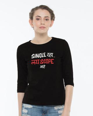Shop Single Raha Round Neck 3/4th Sleeve T-Shirt-Front