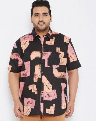 Shop Instafab Plus Size Men Stylish Graphic Design Half Sleeve Casual Shirts-Front