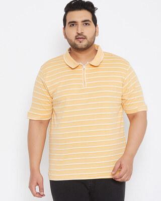 Shop Instafab Plus Size Men Stylish Striped Half Sleeve Casual T-Shirts-Front
