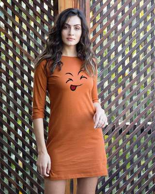Shop Sketch Expression Boat Neck 3/4th Sleeve T-Shirt Dress-Front