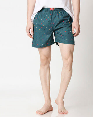 Shop Sketchy Details Blue Men's Boxers-Front