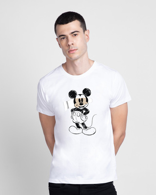 Shop Sketchy Mickey Waterbase Half Sleeve T-Shirt (DL)-Front