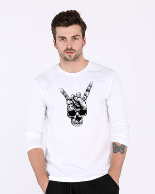 Shop Skull Horn Hand Full Sleeve T-Shirt-Front