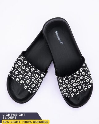 Shop Skull Pattern Women's Lightweight Printed Sliders-Front