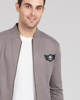 Shop Skull Wings Badge Zipper Bomber Jacket-Front