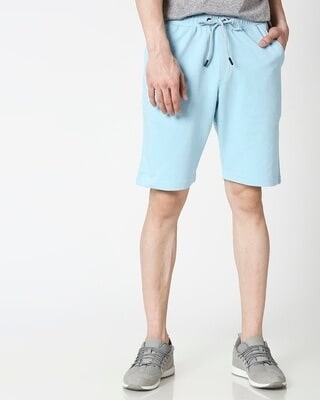 Shop Sky Blue Casual Shorts-Front