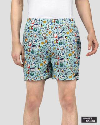 Shop What's Down | Sky Blue Doodles Boxer Shorts | Office Boxers-Front