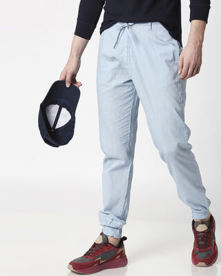 Shop Sky Blue Cotton Jogger Pants-Front