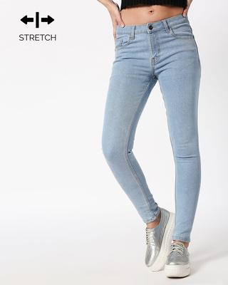 Shop Sky Blue Mid Rise Stretchable Women's Jeans-Front
