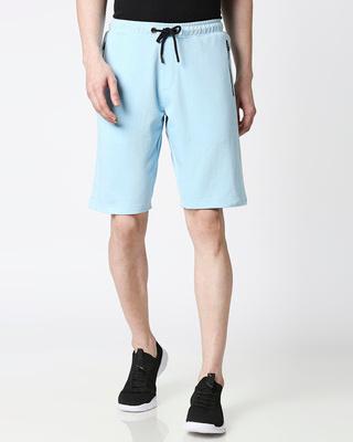Shop Sky Blue Men's Casual Shorts With Zipper-Front