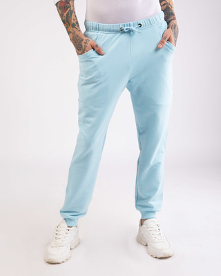 Shop Sky Blue Round Pocket Joggers Pants-Front