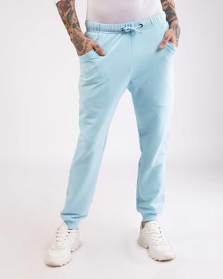 Shop Sky Blue Round Pocket Joggers Pants-Front