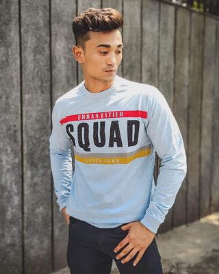 Shop Urban Estilo Sky Blue Squad Printed Full Sleeves T Shirt-Front