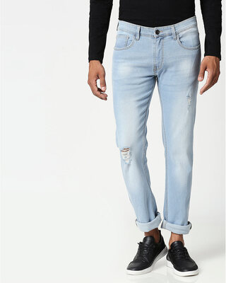 Shop Slate Blue Distressed Mid Rise Stretchable Men's Jeans-Front