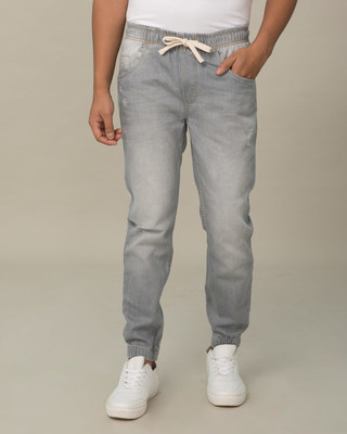 Shop Slate Grey Plain Denim Joggers-Front