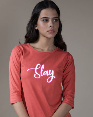 Shop Slay Neon Round Neck 3/4th Sleeve T-Shirt-Front