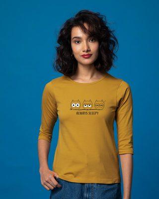 Shop Sleepy Always Owl Round Neck 3/4th Sleeve T-Shirt-Front