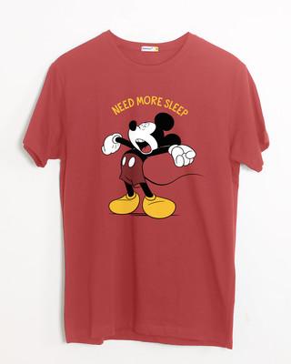 Shop Sleepy Mickey Half Sleeve T-Shirt (DL)-Front
