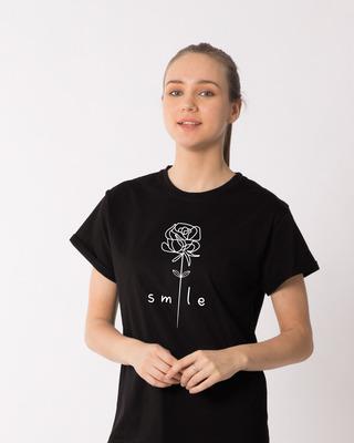 Shop Smile Flower Boyfriend T-Shirt-Front