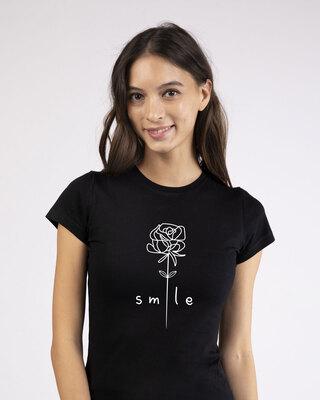 Shop Smile Flower Half Sleeve T-Shirt-Front