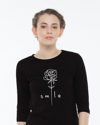 Shop Smile Flower Round Neck 3/4th Sleeve T-Shirt-Front
