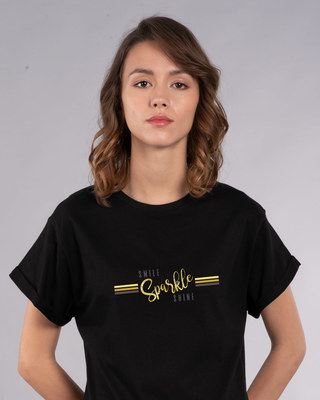 Shop Smile.sparkle.shine Boyfriend T-Shirt-Front