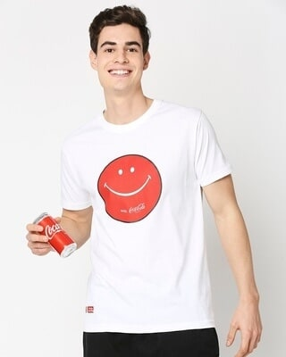 Shop Smiley Coke! Half Sleeves T-Shirt-Front