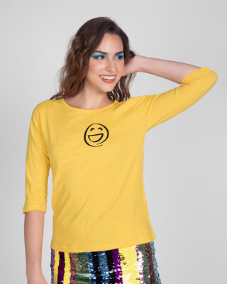 Shop Smiley Emoji Round Neck 3/4th Sleeve T-Shirt-Front