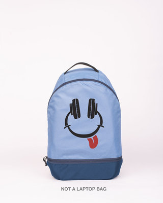 Shop Smiley Headphone Printed Small Backpack-Front