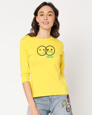 Shop Smiley Smelly 3/4th Sleeve T-Shirt-Front