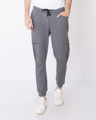 Shop Smoke Grey Melange Cargo Zipper Fleece Joggers-Front