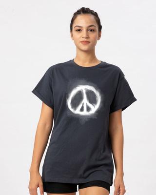 Shop Smoke Peace Boyfriend T-Shirt-Front