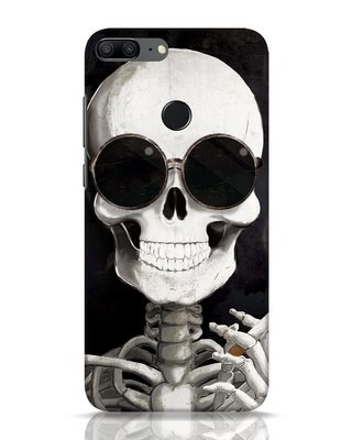 Shop Smoking Skull Huawei Honor 9 Lite Mobile Cover-Front