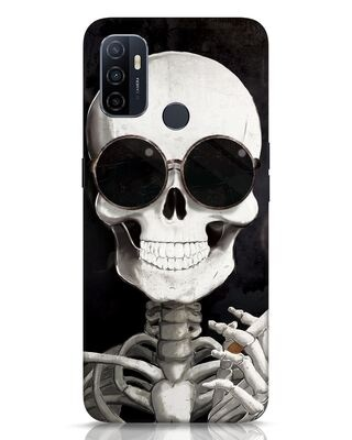 Shop Smoking Skull Oppo A53 Mobile Cover-Front