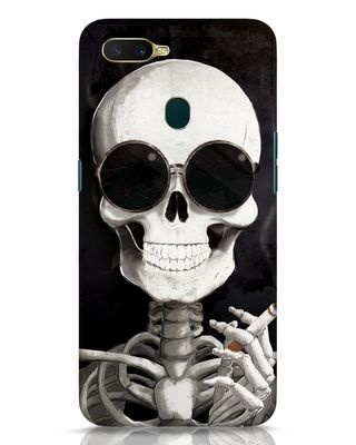 Shop Smoking Skull Oppo A7 Mobile Cover-Front