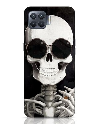 Shop Smoking Skull Oppo F17 Pro Mobile Cover-Front